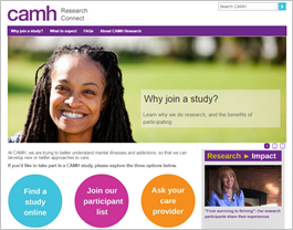CAMH Research Connect homepage