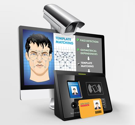 image of camera and screen showing facial identity verification.