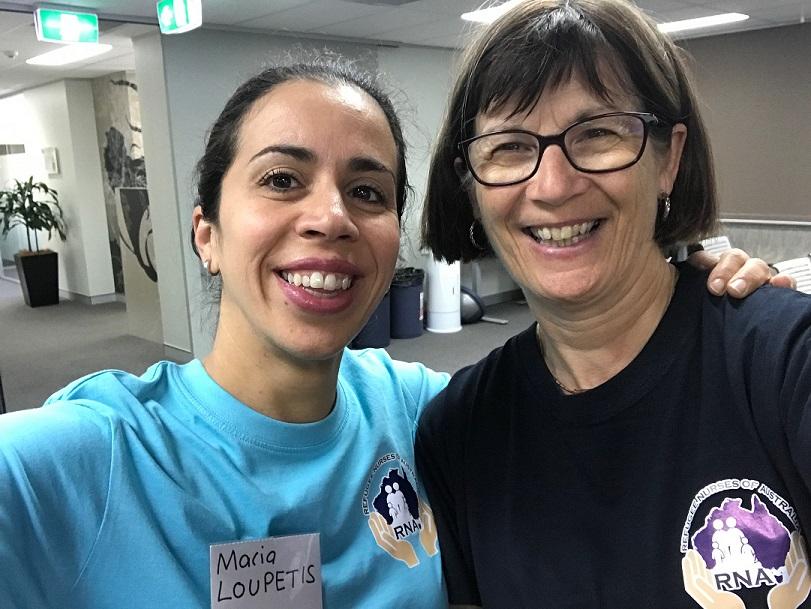 Photo: Merilyn Spratling and Maria Loupetis having a ball at the inaugural Refugee Nurses Australia forum