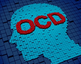 Outline of a person's head with the letters OCD