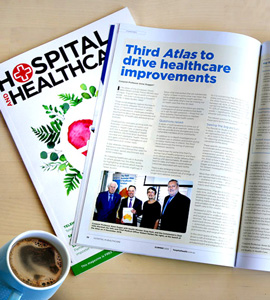 Photo of Hospital and Healthcare magazine opened to the Atlas article