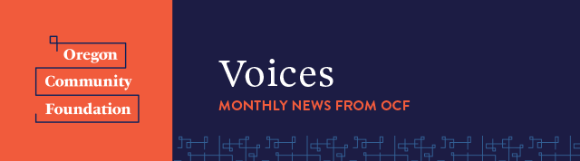 Newsletter masthead, Voices, Monthly News from OCF