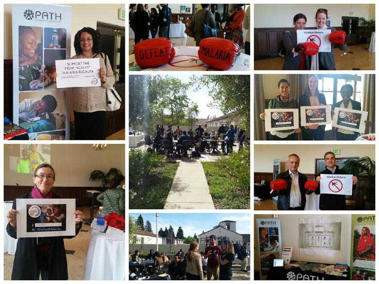 Collage of images: people holding signs with messages of support for the fight against malaria, crowd at reception hosted by PATH.