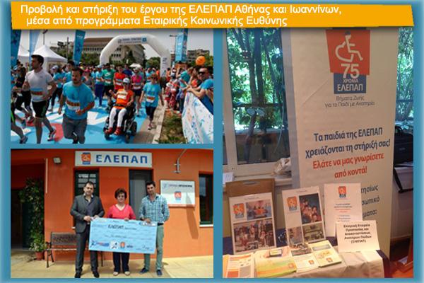 Προβολή και στήριξη του έργου της ΕΛΕΠΑΠ Αθήνας και Ιωαννίνων,  μέσα από προγράμματα Εταιρικής Κοινωνικής Ευθύνης