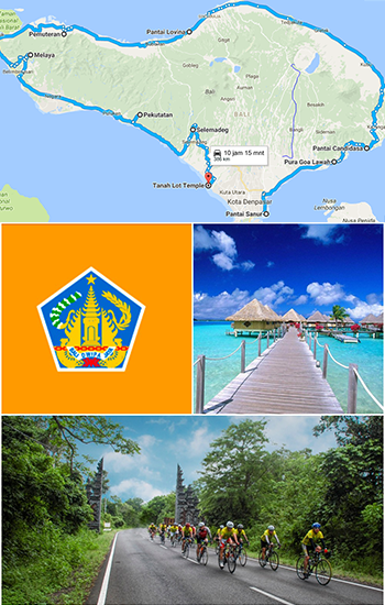 Montage of a map Bali depicting the CyclePower route, riders, province flag and beach.