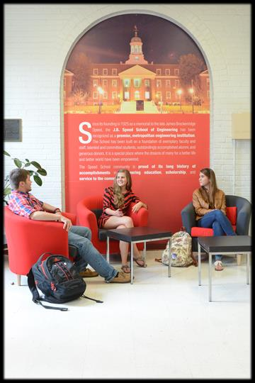 image of engineering students talking in a lobby