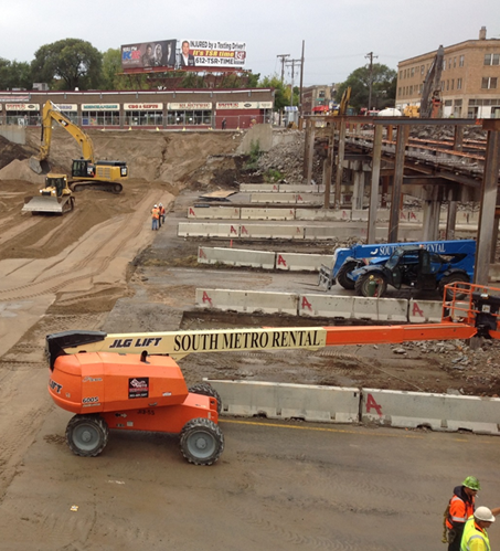 Construction crews working on I-35W at Franklin Avenue in Minneapolis