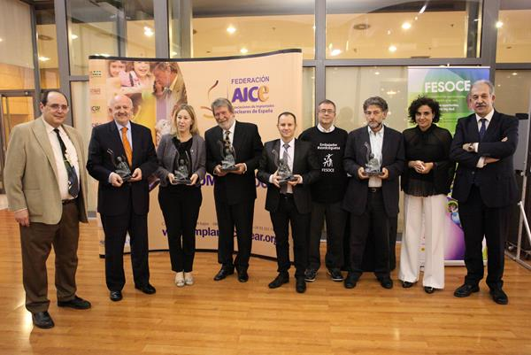 Photo: All winners on the night with Joan Zamora, President of the Federación AICE, and Ricard López, President of FESOCE