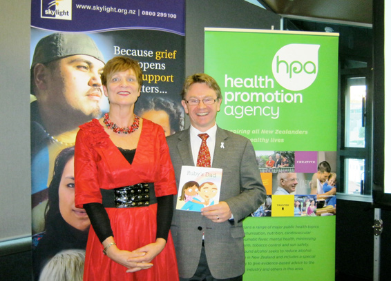 Sue Paton, HPA Principal Advisor Addiction, and Children's Commissioner Dr Russell Wills at the book launch of Ruby's Dad this week.