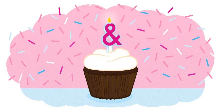 Cupcake and confetti