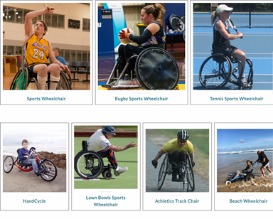 Grid of seven different wheelchair sports: basketball, rugby, tennis, hand cycling, bowls, track, beach chair.