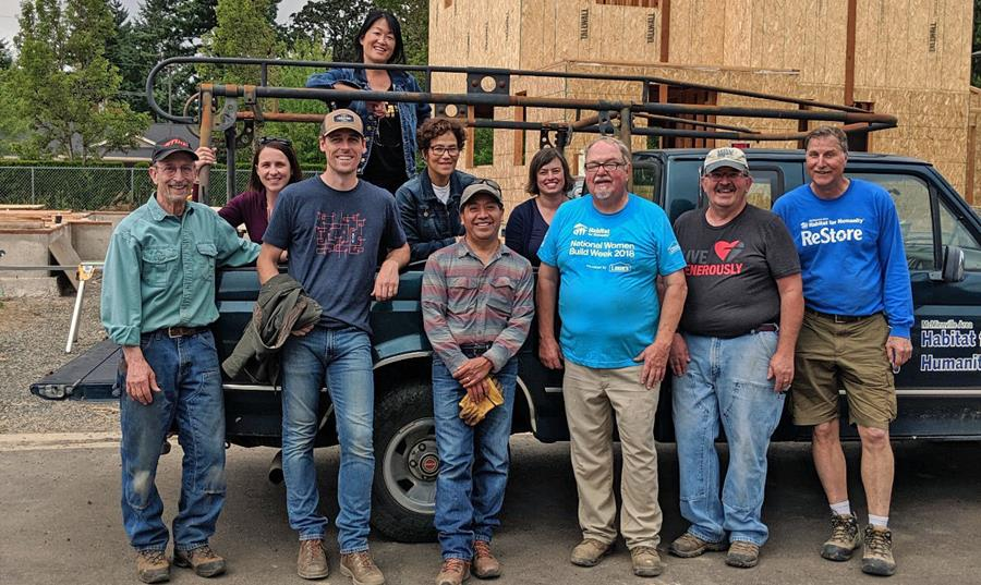Northern Willamette Valley Leadership Council members and OCF staff volunteering at McMinnville Area Habitat for Humanity.