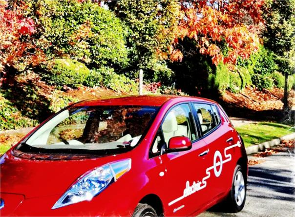 Modo's red electric vehicle.