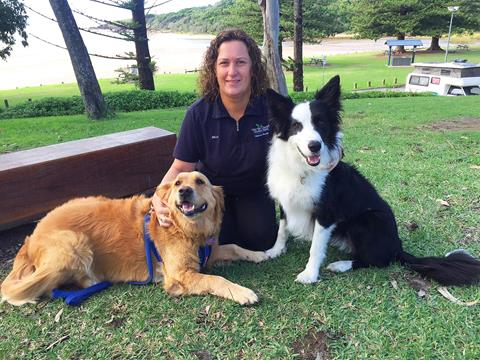 Moonee Beach Park Manager Kelly Shaw with furry guests Sally & Alex.