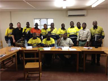 Marc Ratcliffe with his Cert IV TAE Group from Syama Mine in Mali
