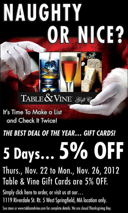Five % gift card promo ad