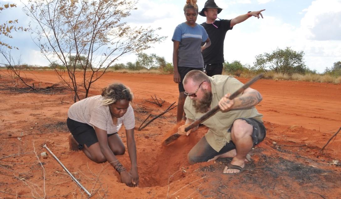 Jamie leading the dig for ruumiya (goanna) during the Waltja women's camp