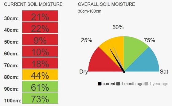 Normanville speedo moisture currently 33%