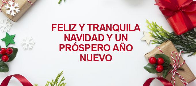 Feliz y tranquila Navidad y un próspero Año Nuevo