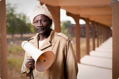 A town crier in Burkina Faso