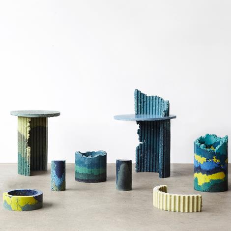 Charlotte Kidger uses industrial waste to create colourful furniture