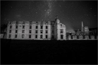 Amazing night time photograph of the Port Arthur Penitetiary, courtesy MONA