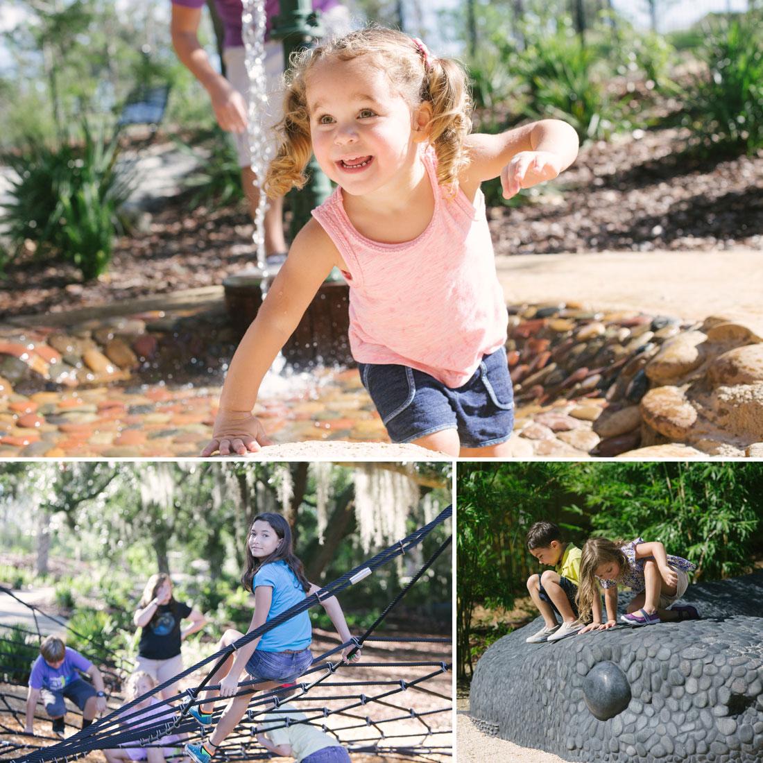 Photos of children having fun in Hammock Hollow Children's Garden