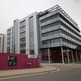 Image of almost completed commercial development in Cardiff