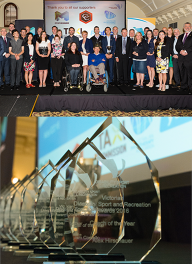 Top: All award winners and presenters on stage. Bottom: close-up of glass trophies.