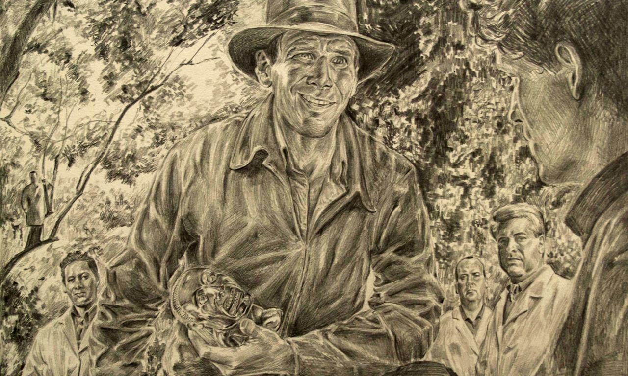Hand-sketched image of Indiana Jones holding idol by John Bergman-McCool, Inventory Specialist at the Peabody Institute.