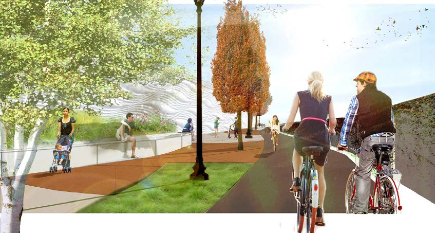 The image shows a street-level perspective drawing of what the trail connection might look like, with separated bike and pedestrian paths, trees and lighting.