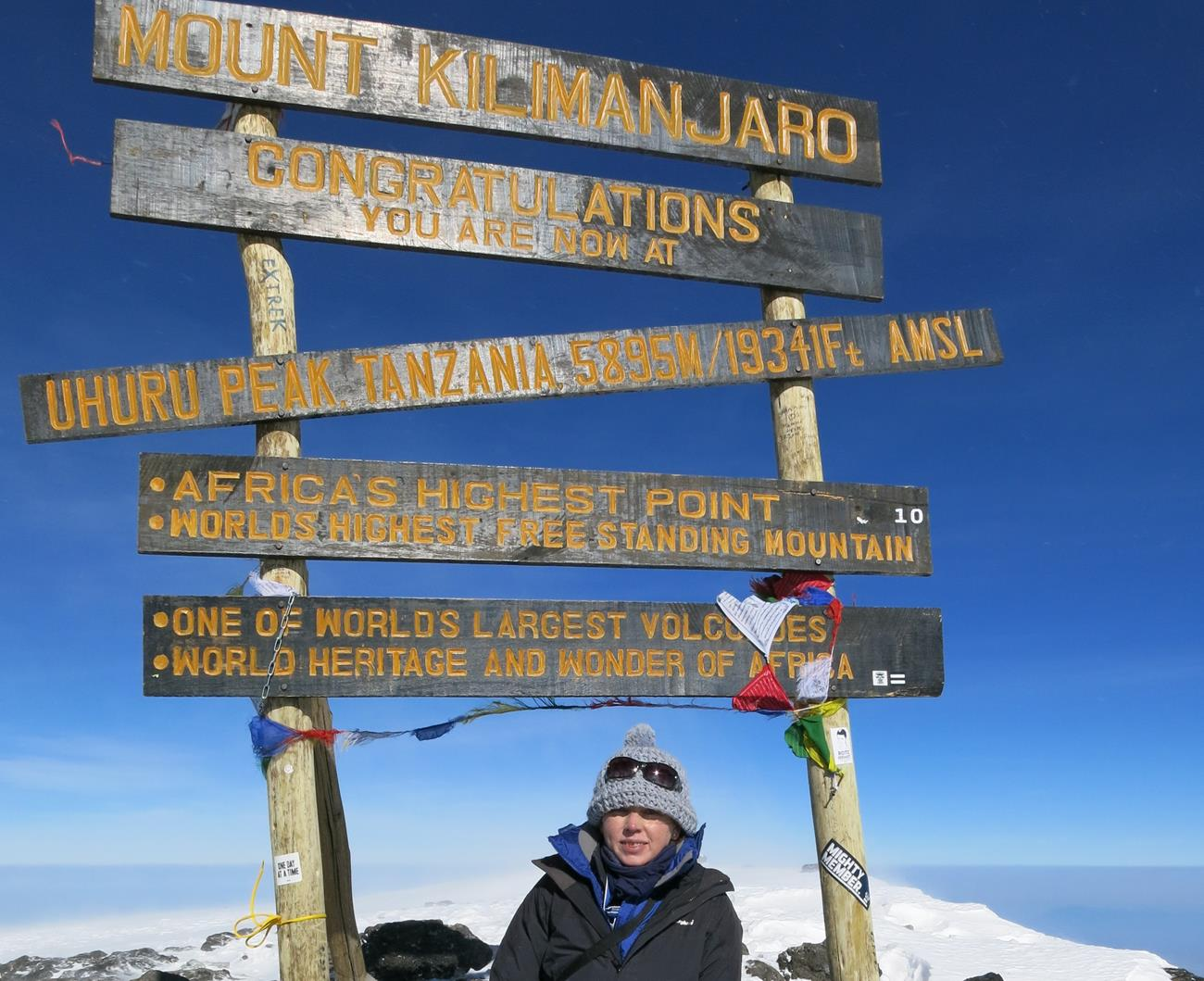 Leanne Butler at the summit of Mt Kilimanjaro