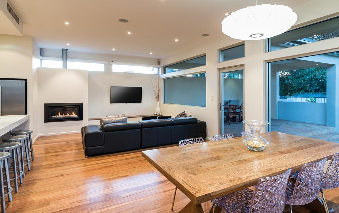 Millswood family/living room with solid timber floors