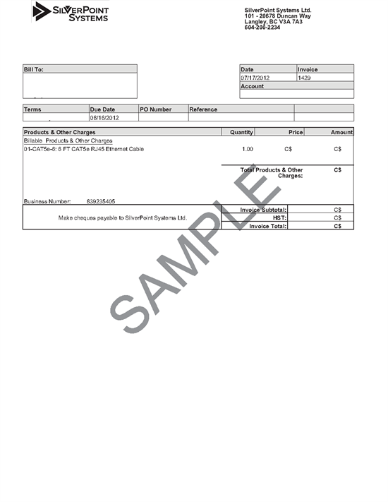 Sample Invoice - Product