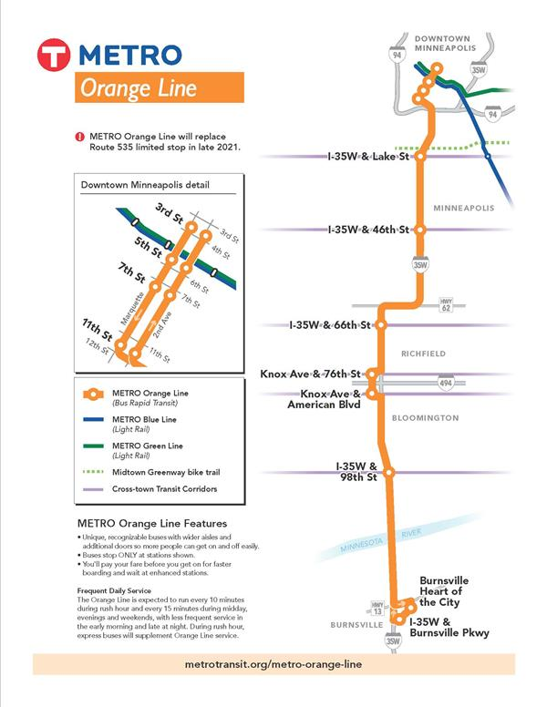Illustrations shows passengers and an Orange Line bus on Knox Avenue near the Best Buy Headquarters in Richfield.