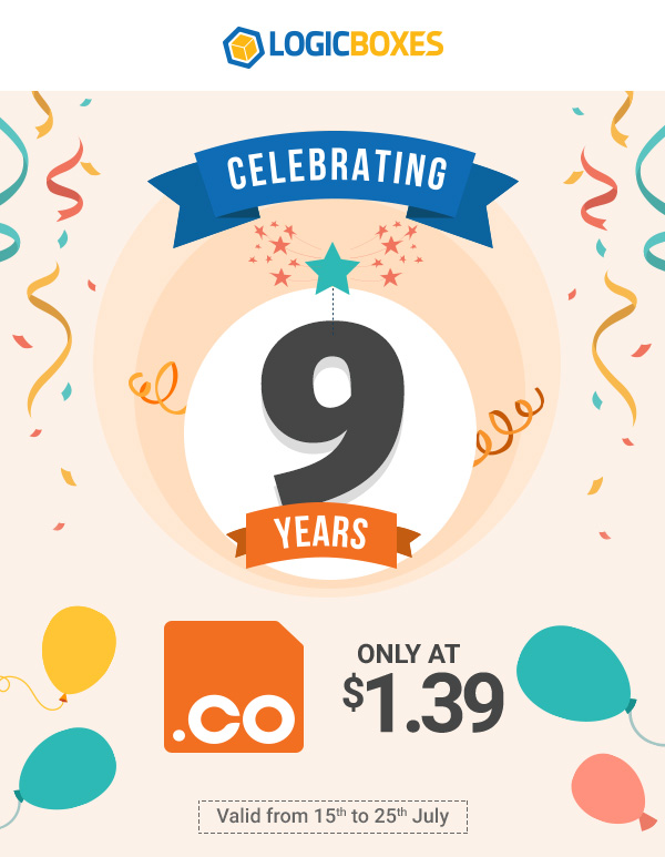 .CO at just $1.39 From 15th till 25th July