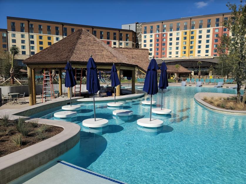 Kalahari Resort pool area with countertops