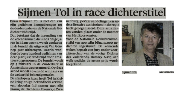 Noordhollands Dagblad - over kandidaat S. Tol