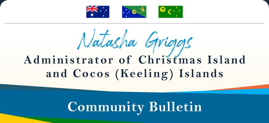 Banner header Natasha Griggs Administrator of Christmas and Cocos Keeling Islands