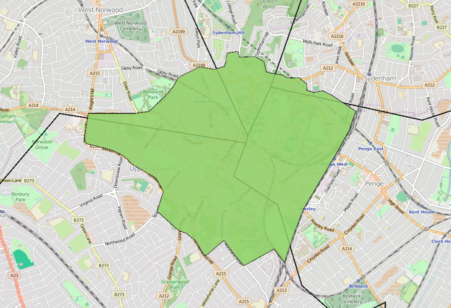 The borders of Crystal Palace pass over five London borough boundaries.