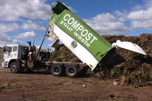 Truck tipping organic waste