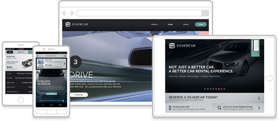 Silvercar design on iPhone, Android Phone, iPad, Web Browser