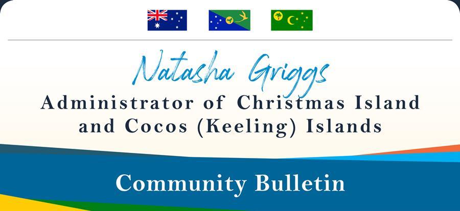 Banner header Natasha Griggs Administrator of Christmas and Cocos Keeling Islands