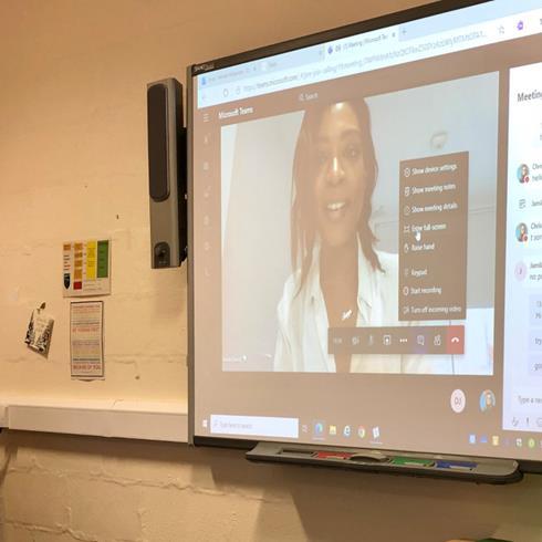 A volunteer Jamila speaks about her career journey over Microsoft Teams