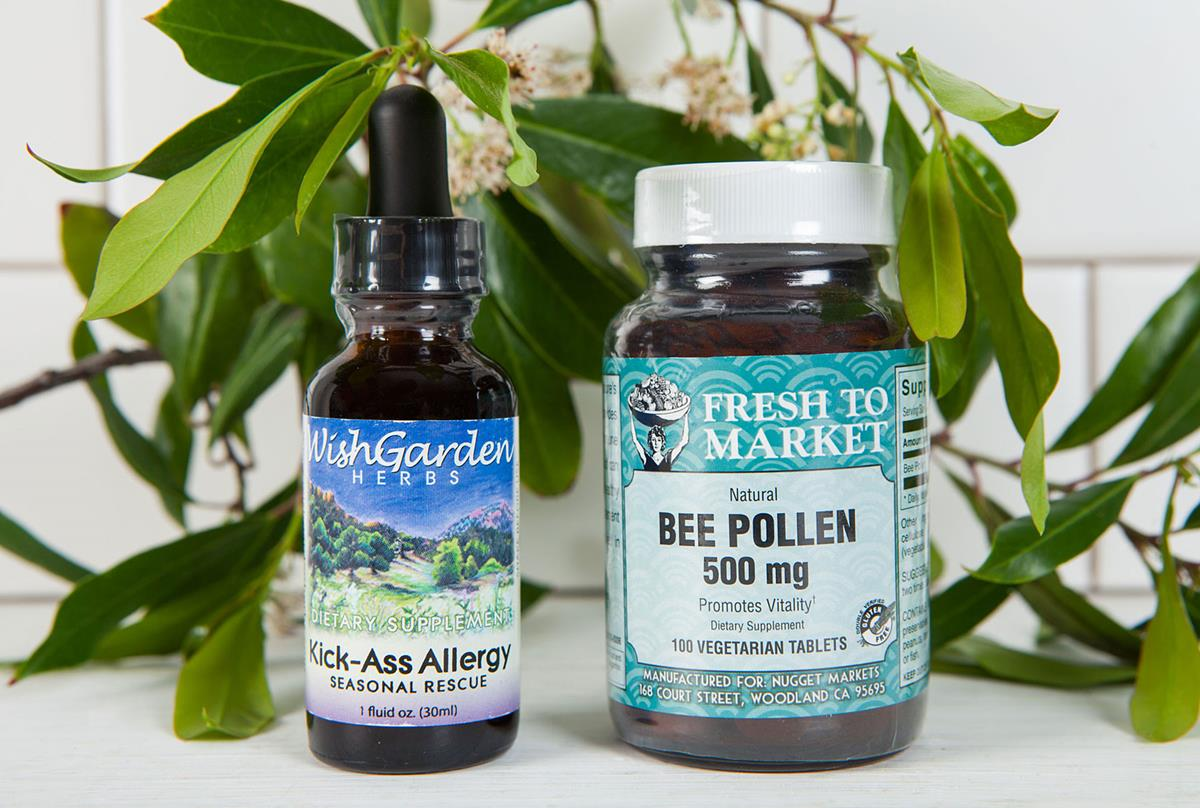 Fresh to Market bee pollen and Wish Garden Herbs dietary supplements