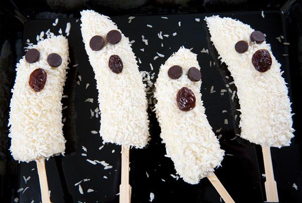 Coconut-covered banana ghost pops