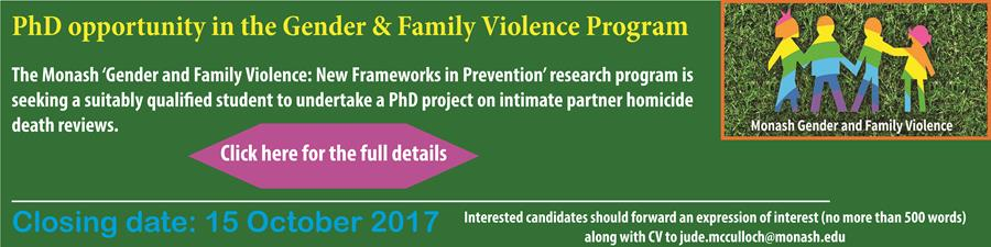 PhD opportunity in the Gender & Family Violence Program