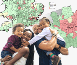 A family overlaid onto a demographic map of the UK