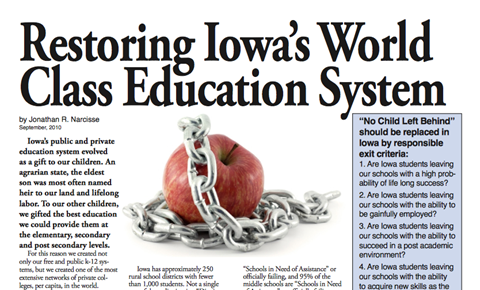 Restoring Iowa's World Class Education System