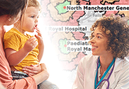 Consultant and young patient in front of a travel isochrone map